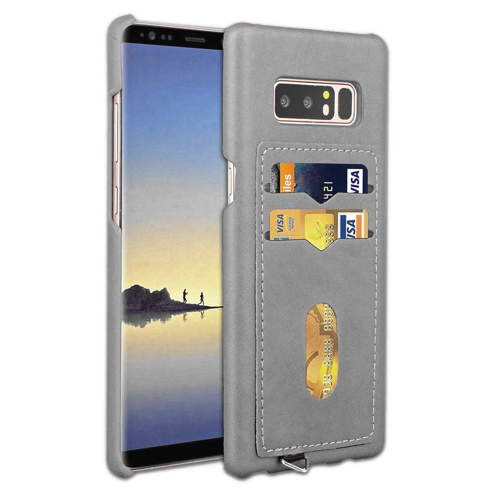 Card Holder Back Cover Solid Color Hard PU Leather Case for Samsung Galaxy Note 8 - LIGHT GRAY