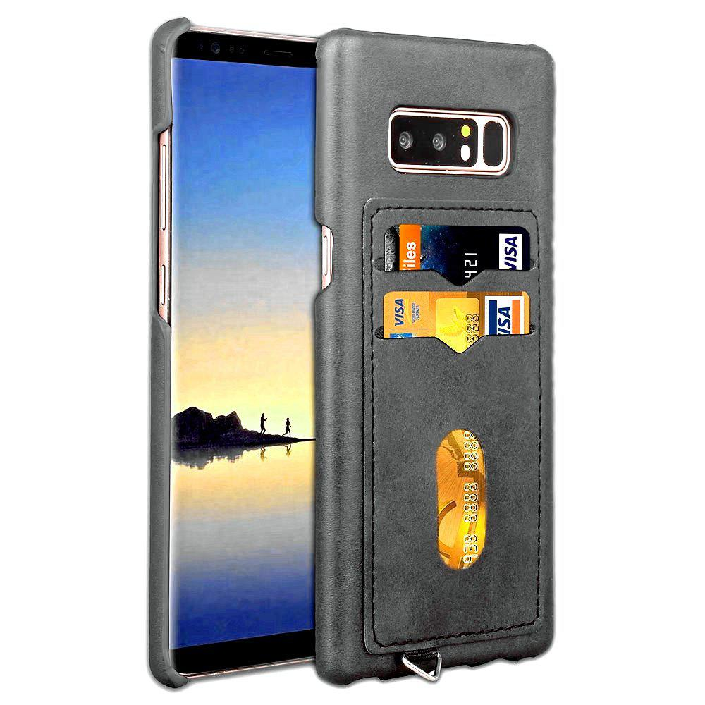 Card Holder Back Cover Solid Color Hard PU Leather Case for Samsung Galaxy Note 8 - BLACK
