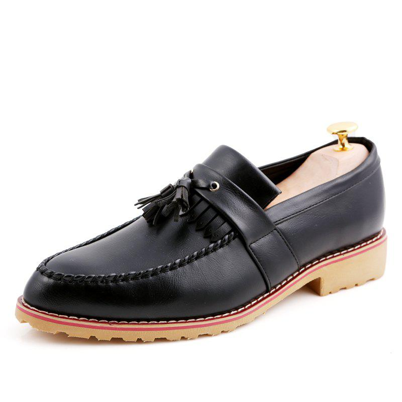 Men Casual Fashion Business Leather Shoes - BLACK 39
