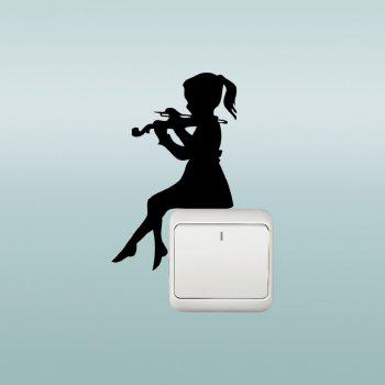 Wall Decal Cute Girl Playing Violin Silhouette Sticker Switch Vinyl Home Decors - BLACK 15X9.5CM