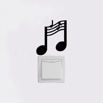 Music Notes Switch Mural Training Room Vinyl Wall Stickers Bedroom Home Decor - BLACK 11.5X10CM