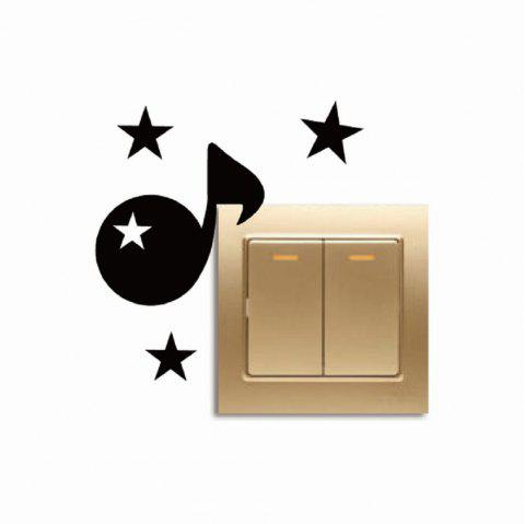 Personalized Musical Note Light Switch Creative Vinyl Wall Sticker Bedroom Decor - BLACK 11X9.7CM