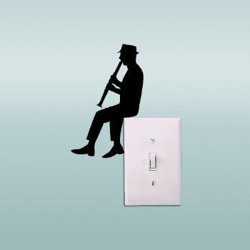 Cartoon Playing Clarinet Light Switch Sticker Classical Music Vinyl Home Decor - BLACK 15.2X9.6CM