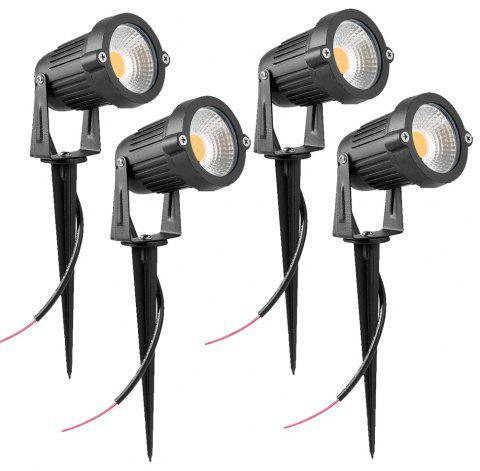7W COB  Waterproof Outdoor Garden Low Voltage AC12V Lawn Lamp Spiked Stand 4PCS - BLACK 3000K-3500K