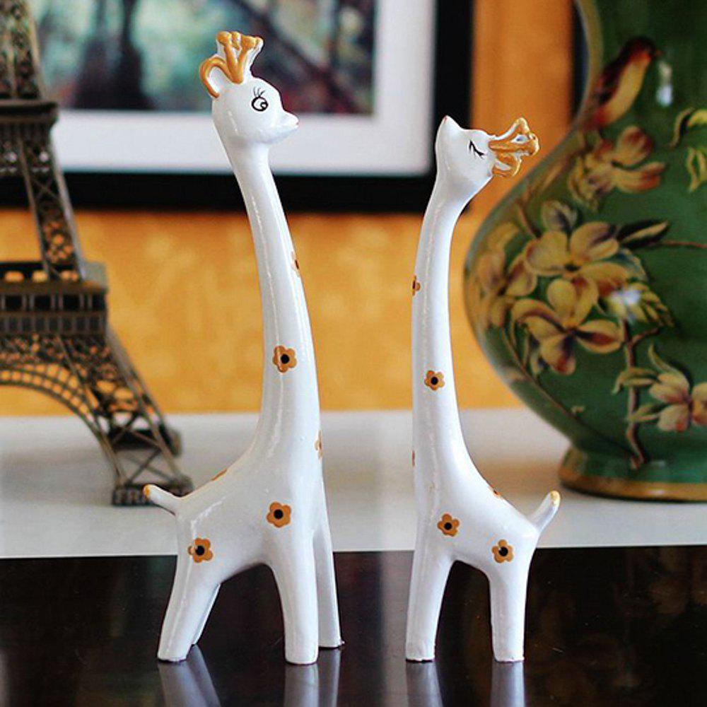 WX-C26-13022 Animal Home Couple Deer Crafts Ornament - WHITE