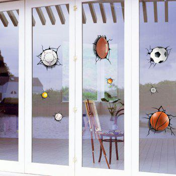 Simulation of 3D Poqiang Football Basketball Cartoon Stickers Children Bedroom - multicolor