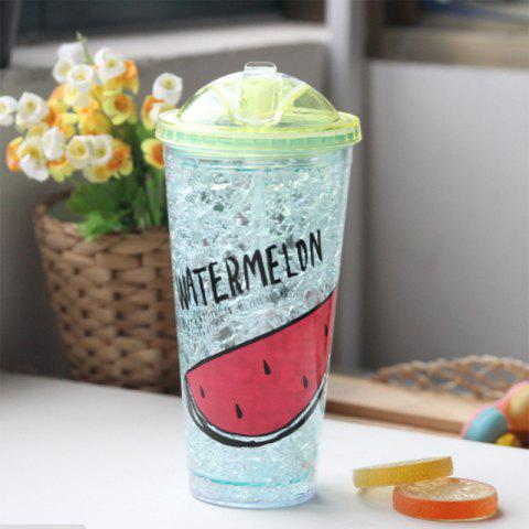 Creative Summer Double Zone Cover Straw Plastic Cooling Water Cup - CLOVER GREEN