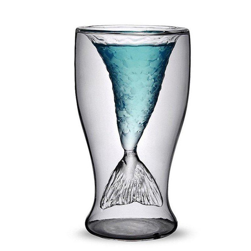 100ml Creative Mermaid Shape Glass Wine Beer Cup for Bar Party bone glass beer stan shooting glass head whiskey drinking popular design new fashion party