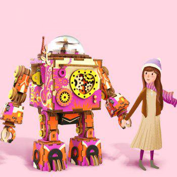 Creative 3D DIY Coloful Wooden Robot  Music Box Model Best Gift - multicolor