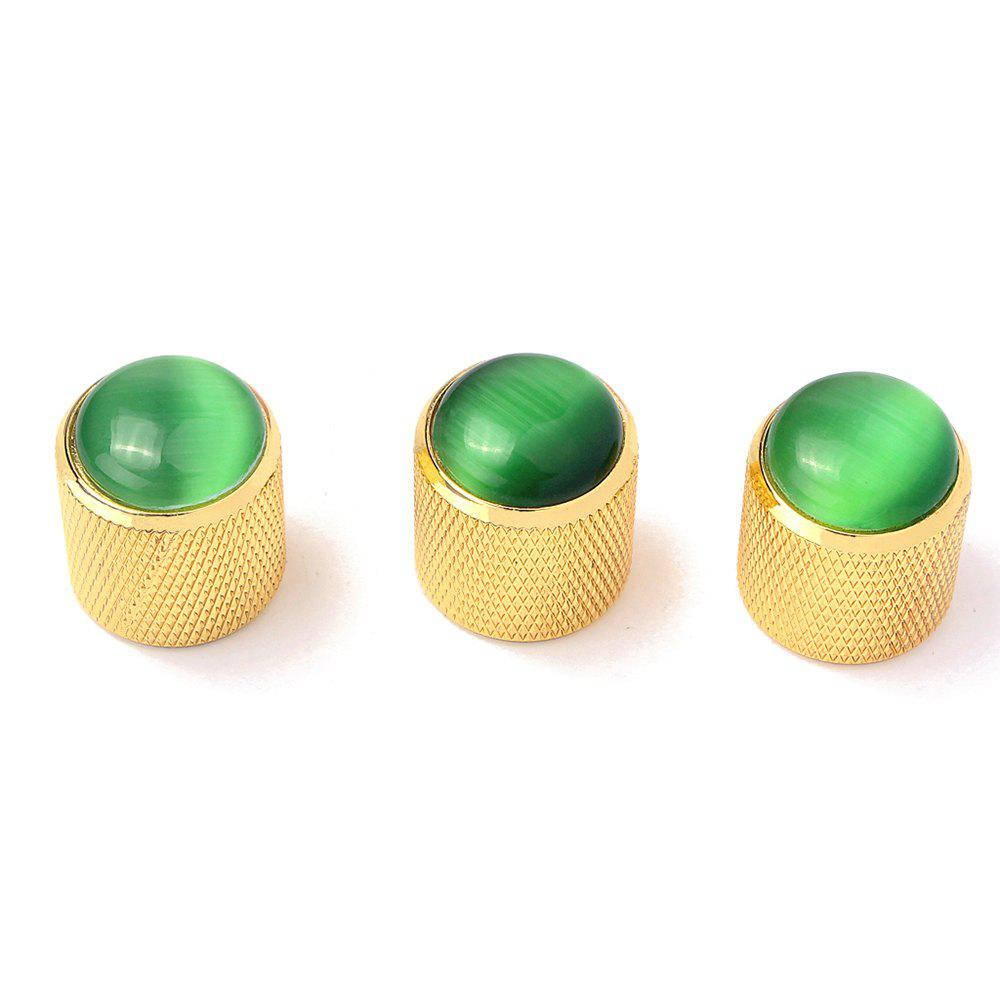 Metal Knob Green Abalone Inlay for Electric Guitar Bass 3PCS - GOLD