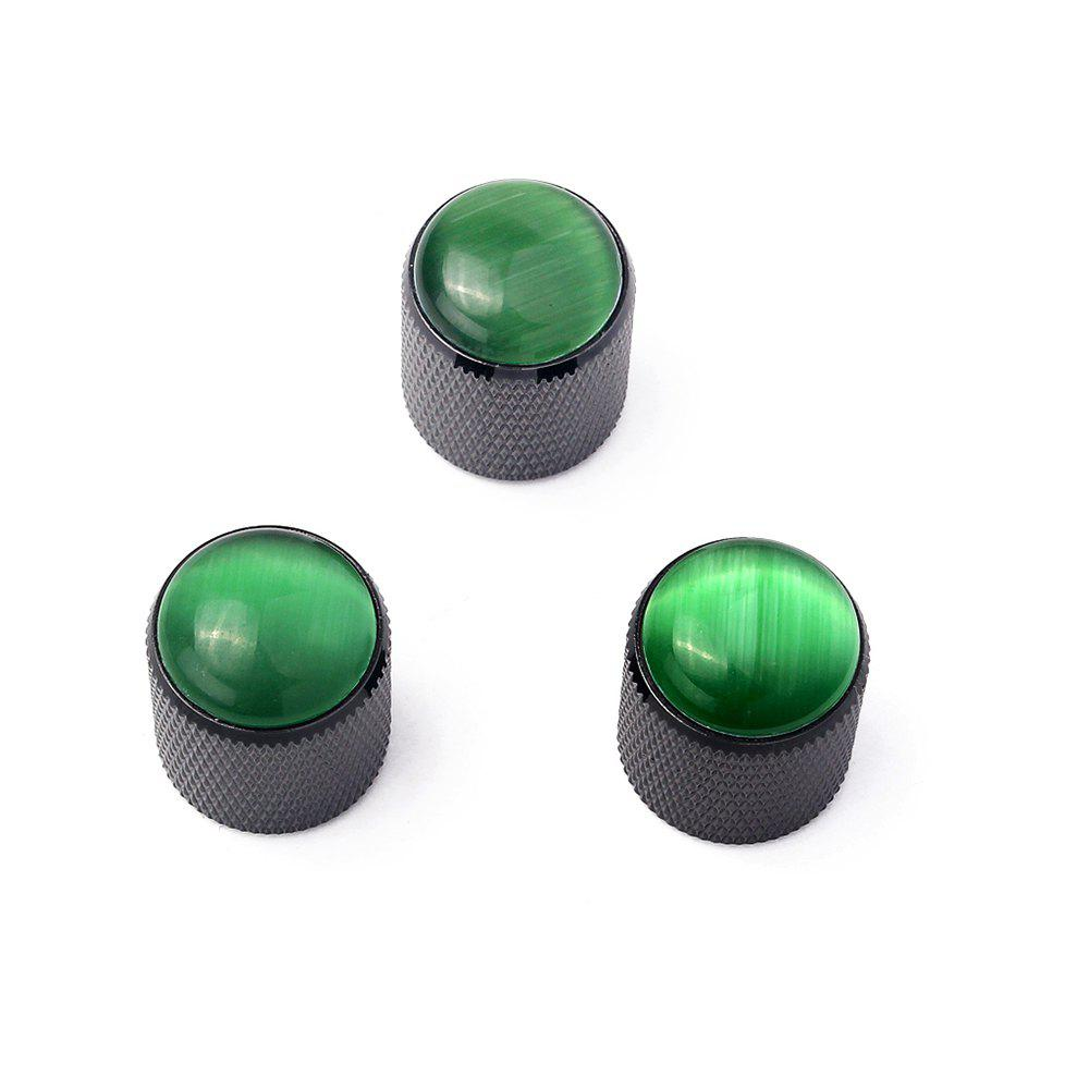Metal Knob Green Abalone Inlay for Electric Guitar Bass 3PCS gold abalone metal bell guitar bass knob for 6mm split shaft 3pcs