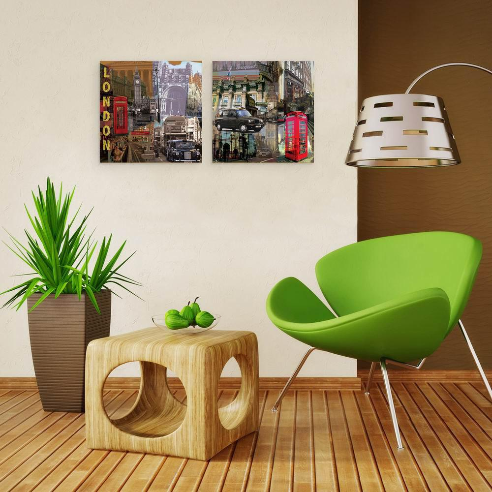 W139 Street Scenery Unframed Art Wall Canvas Prints for Home Decorations 2 PCS family wall quote removable wall stickers home decal art mural