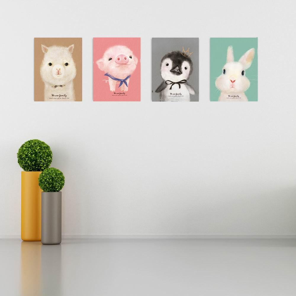 Фото W147 Cute Animals Unframed Art Wall Canvas Prints for Home Decorations 4 PCS family wall quote removable wall stickers home decal art mural