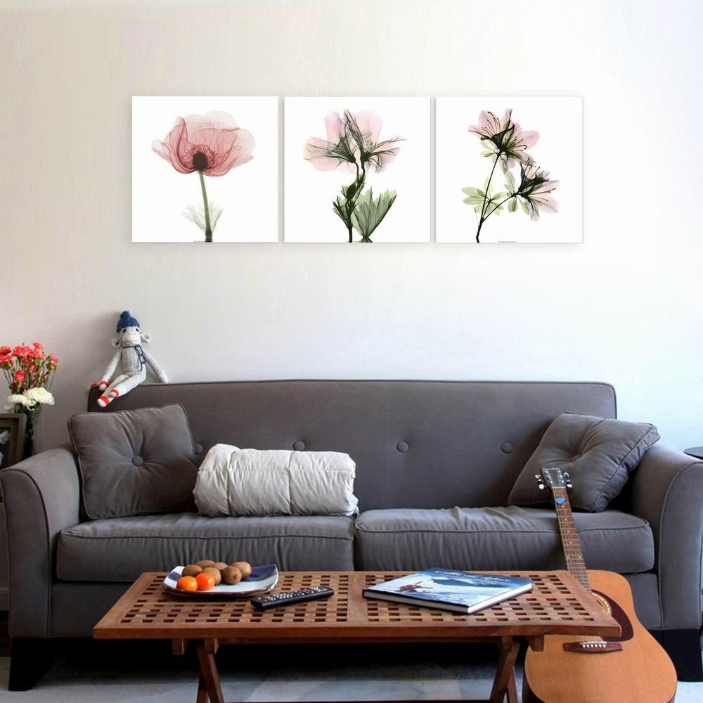 W149 Lotus Unframed Art Wall Canvas Prints for Home Decorations 3 PCS family wall quote removable wall stickers home decal art mural