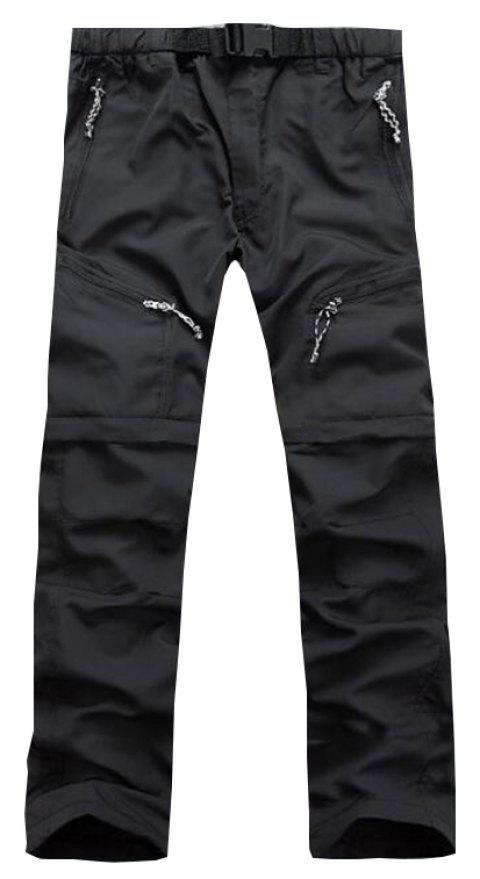 Men's Outdoor Fast Dry UV resistant nvertible Pants Trousers Hunting Pants - BLACK 3XL