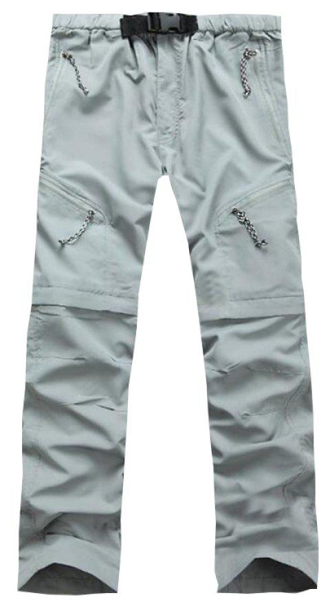 Men's Outdoor Fast Dry UV resistant nvertible Pants Trousers Hunting Pants - LIGHT GRAY L