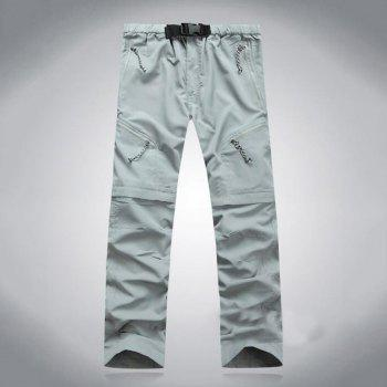 Men's Outdoor Fast Dry UV resistant nvertible Pants Trousers Hunting Pants - LIGHT GRAY XL