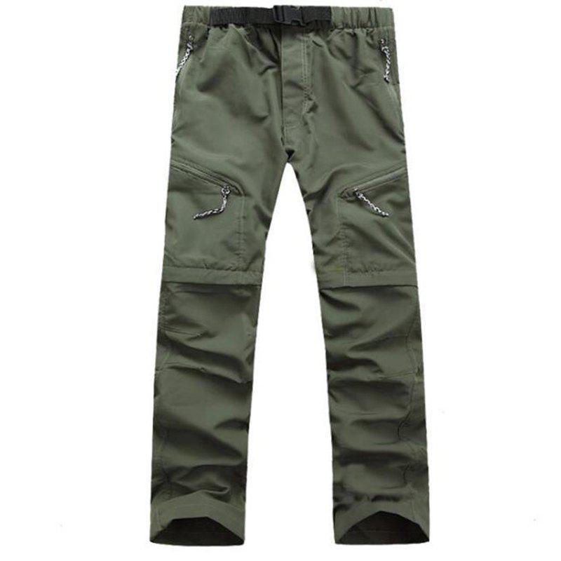 Men's Outdoor Fast Dry UV resistant nvertible Pants Trousers Hunting Pants - CAMOUFLAGE GREEN XL