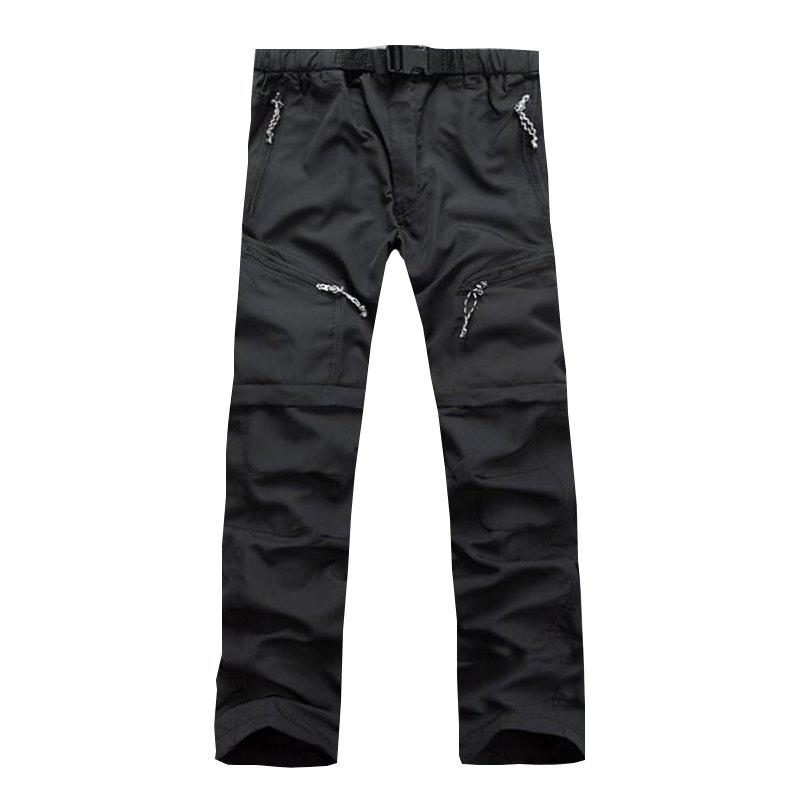 Men's Outdoor Fast Dry UV resistant nvertible Pants Trousers Hunting Pants - BLACK XL