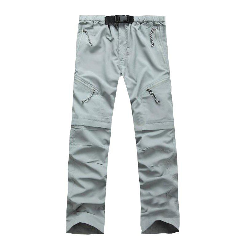 Men's Outdoor Fast Dry UV resistant nvertible Pants Trousers Hunting Pants - LIGHT GRAY M
