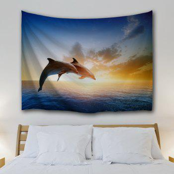 Couples Dolphins 3D Printing Home Wall Hanging Tapestry for Decoration - multicolor A W153CMXL130CM