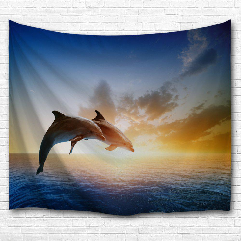 Couples Dolphins 3D Printing Home Wall Hanging Tapestry for Decoration - multicolor A W229CMXL153CM