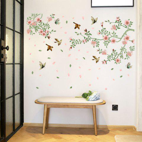 Flower Vine Bird Wall Stickers PVC Home Decals - multicolor