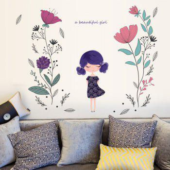 Flower Girl Wall Sticker  for Girls Room Decoration - multicolor