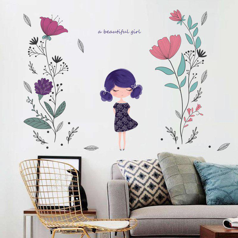 Flower Girl Wall Sticker for Girls Room Decoration все цены