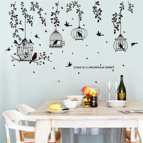 Tree Branches Birdcage Wall Sticker for Home Decoration Removable Decal - BLACK