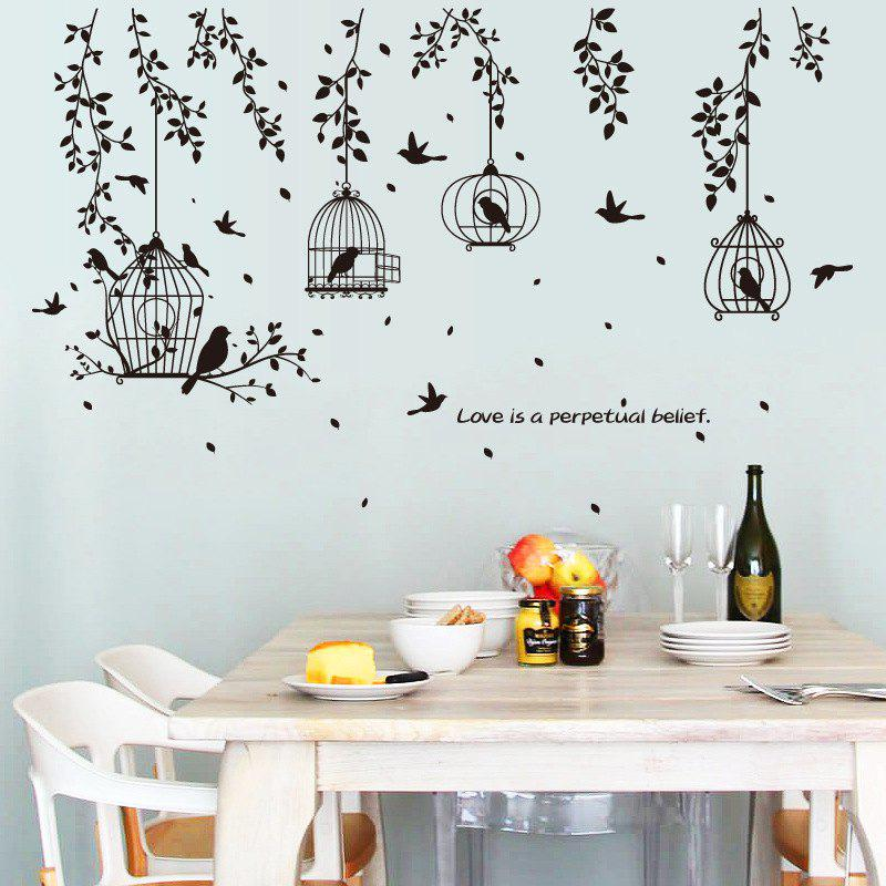 Tree Branches Birdcage Wall Sticker for Home Decoration Removable Decal removable diy tree and birdcage pattern wall sticker for living room decor