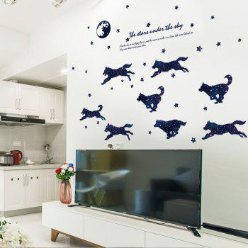 Starry Wolf Group Cartoon Wall Decal for Kids Room Decoration - MIDNIGHT BLUE
