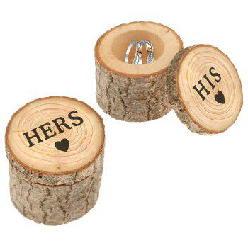 2 Pack Ring Boxes Hers His Gifts Original Wooden Lettering - BURLYWOOD