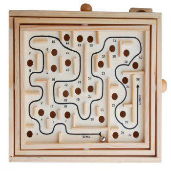 Ball in Maze Handcrafted Puzzle Toy for Kids 27.5CM Length - LIGHT KHAKI