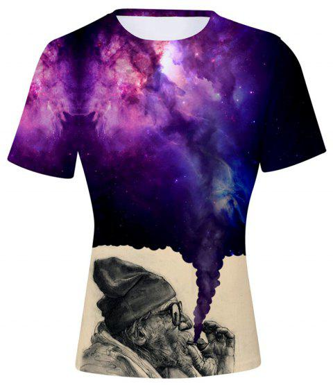 2018 New The Old Man Smoking Space 3D T-shirt - multicolor A M