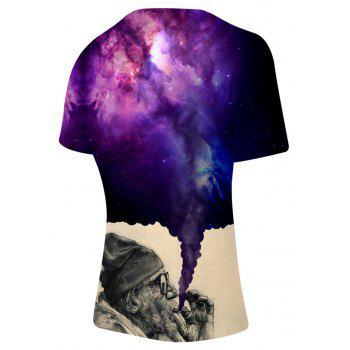 2018 New The Old Man Smoking Space 3D T-shirt - multicolor A S