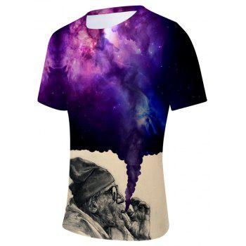 2018 New The Old Man Smoking Space 3D T-shirt - multicolor A L