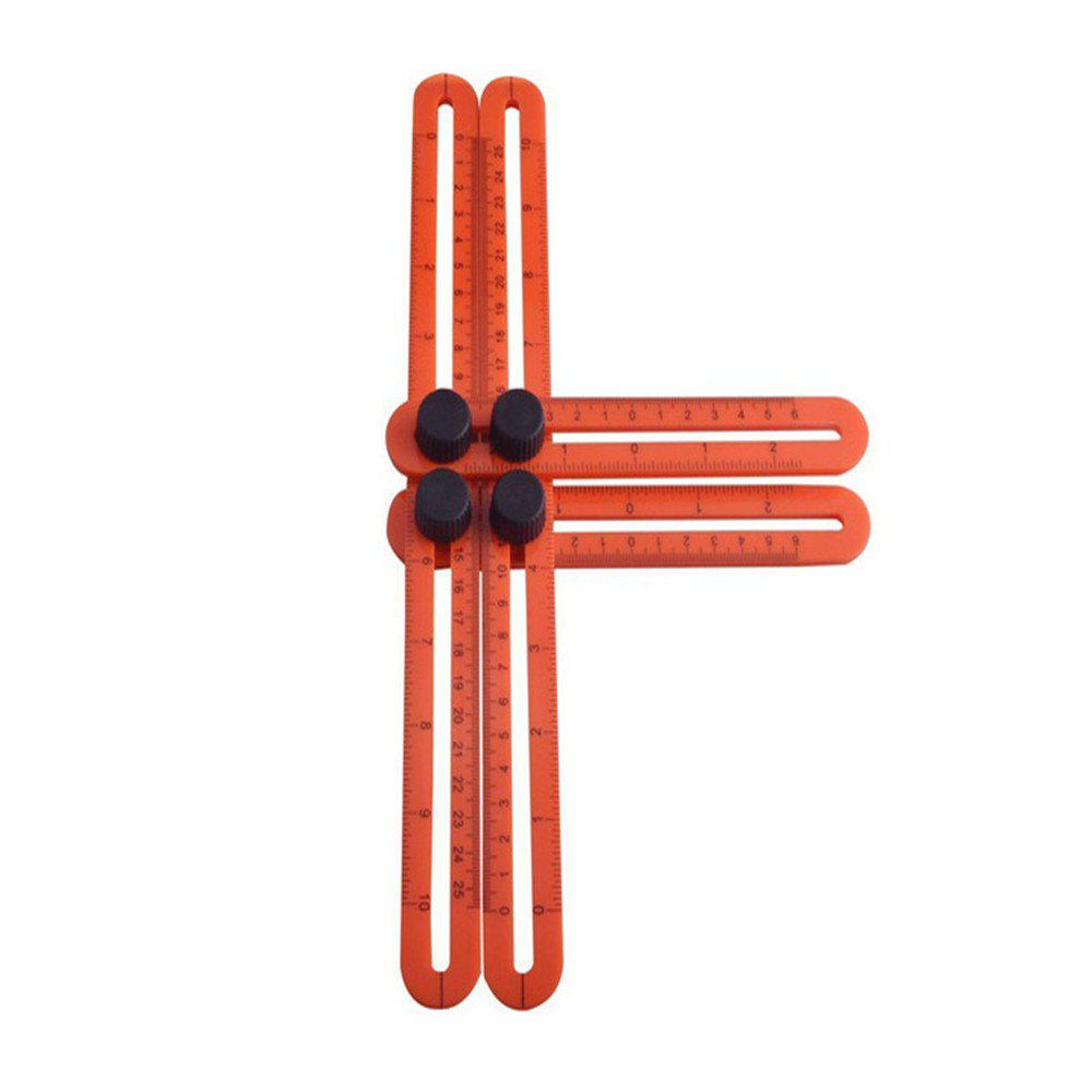 Four Side Ruler Multi-Angle Folding Template Tool - FIRE ENGINE RED