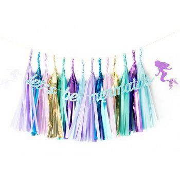 1PC Shiny Blue Let'S Be Mermaid Banner Baby Birthday Romantic Decoration - BLUE