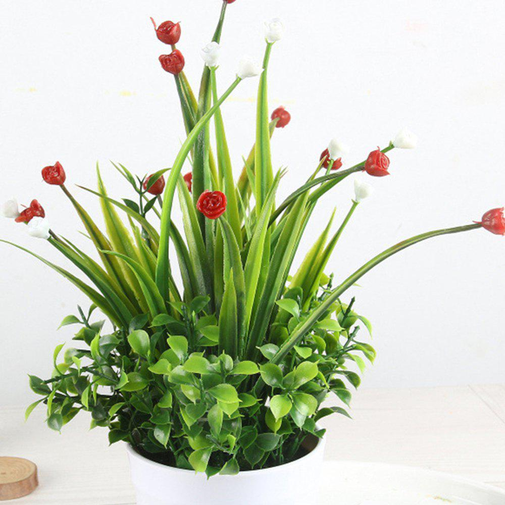 Modern Artificial Rose with Pot - RED