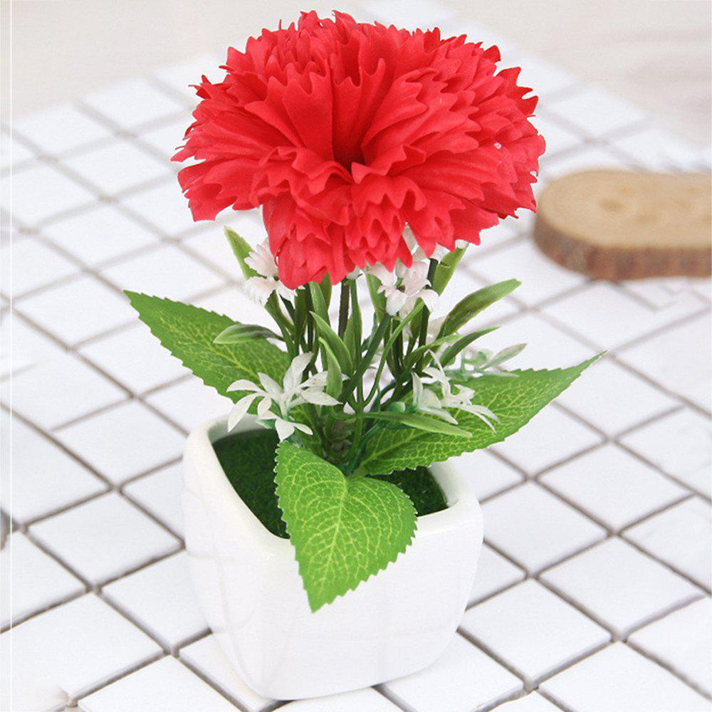 Carnation Artificial Flower with Pot - RED