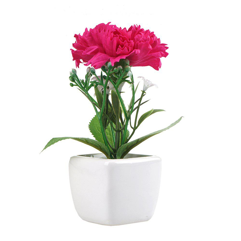 Carnation Artificial Flower with Pot artificial carnation bunch with 7pcs branch