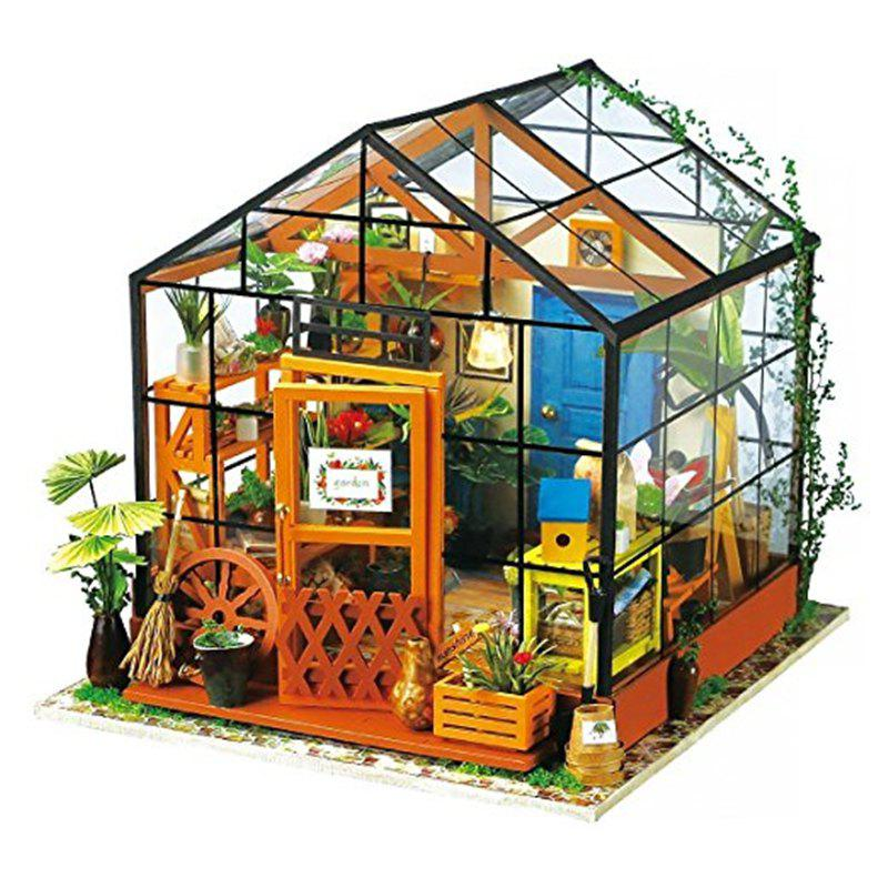 Imagine 3D DIY House Model Kit Greenhouse Miniature LED Light Dolls House Build diy wooden model doll house manual assembly house miniature puzzle handmade dollhouse birthday gift toy pandora love cake