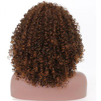 Fashion Brown Highlight Afro Curly Synthetic Short Hair Wig for African American - DEEP BROWN 14INCH