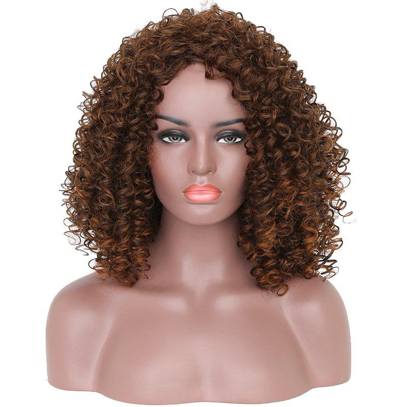 2018 Fashion Brown Highlight Afro Curly Synthetic Short Hair Wig For