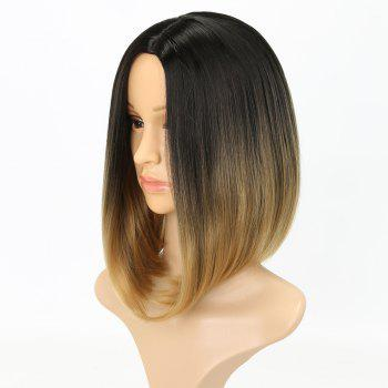 Fashion Natural Straight Bob Cut Ombre Color Synthetic Short Hair Wigs with Skin - GOLDEN BROWN 14INCH