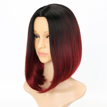 Fashion Natural Straight Bob Cut Ombre Color Synthetic Short Hair Wigs with Skin - RED WINE 14INCH