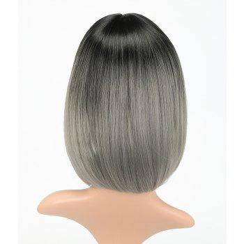 Fashion Natural Straight Bob Cut Ombre Color Synthetic Short Hair Wigs with Skin - LIGHT GRAY 14INCH