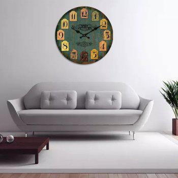 Retro Creative Wooden Wall Clock - FOREST GREEN