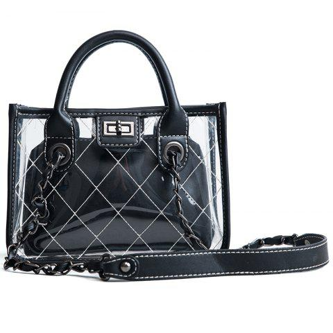 DA18000Women'S Transparent Zoning Composite Handbag - BLACK